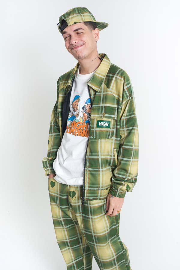 Jaqueta High Plaid Jacket Love Beige/Green