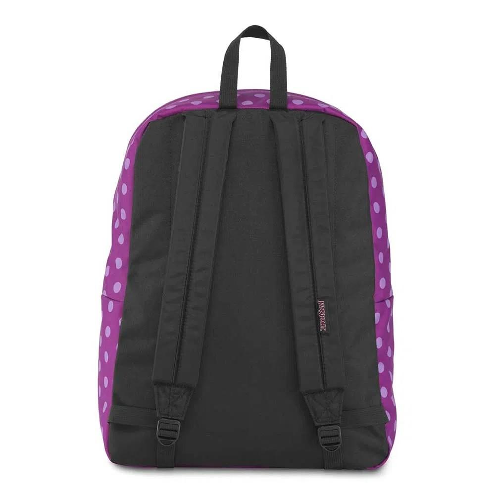 Mochila Jansport Black Label Superbreak Purple Plum Polka Dot