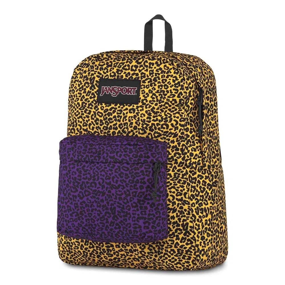 Mochila Jansport Black Label Superbreak Yellow Leopard Life Print