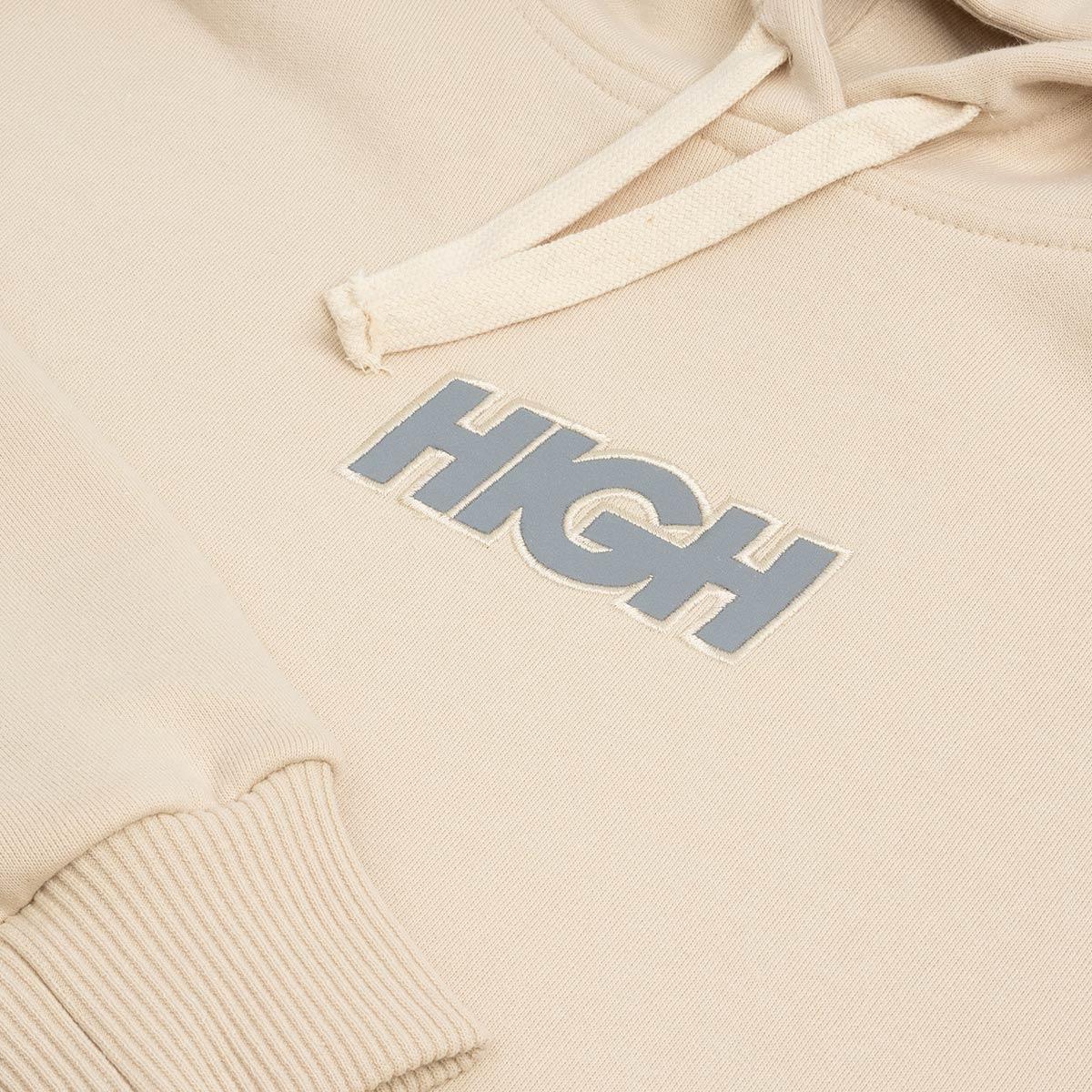 Moletom High Hoodie Reflective Logo Beige