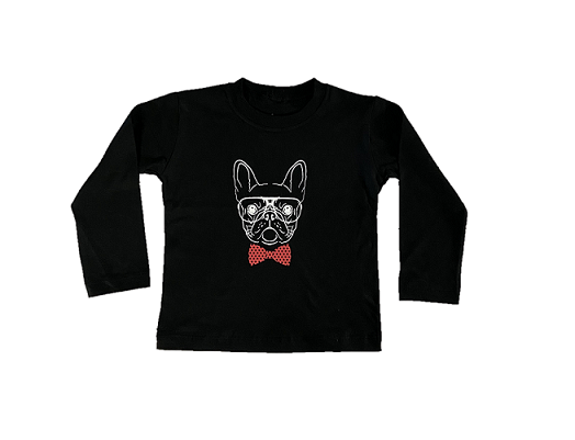 Camiseta Bulldog Gravata - Preta