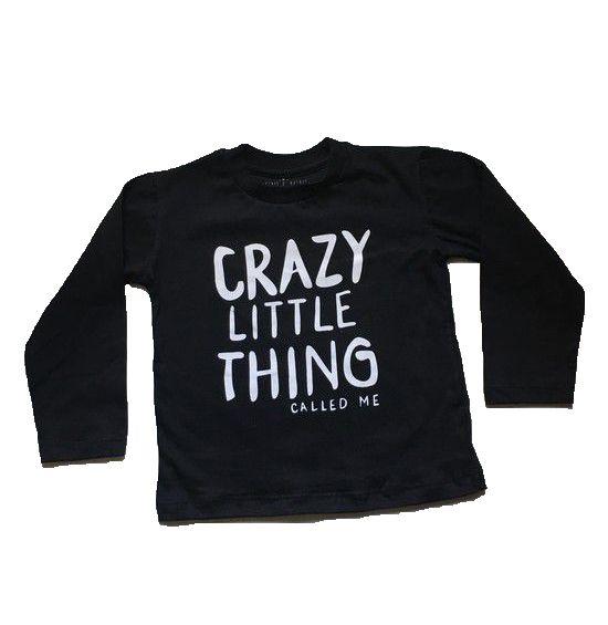Camiseta Manga Longa Crazy Little - Preta