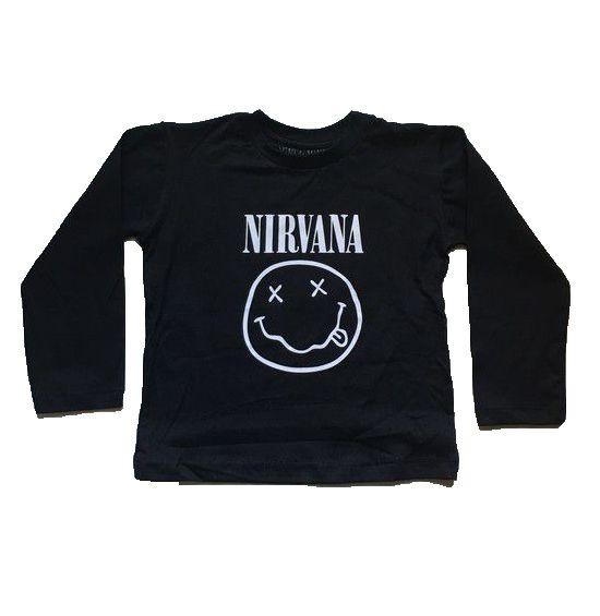 Camiseta Manga Longa Nirvana - Preta
