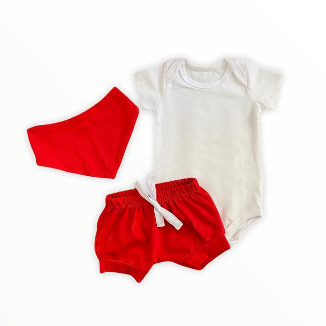 Conjunto Branco e Vermelho
