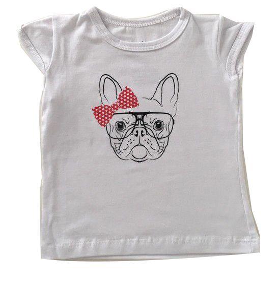 T-Shirt Bulldog Laço - Branco