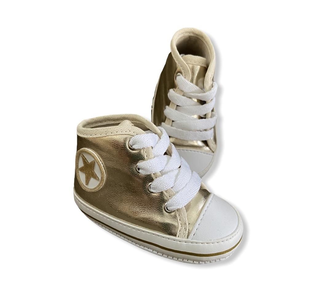 Tenis Baby Cano Alto - Dourado - Com cadarço