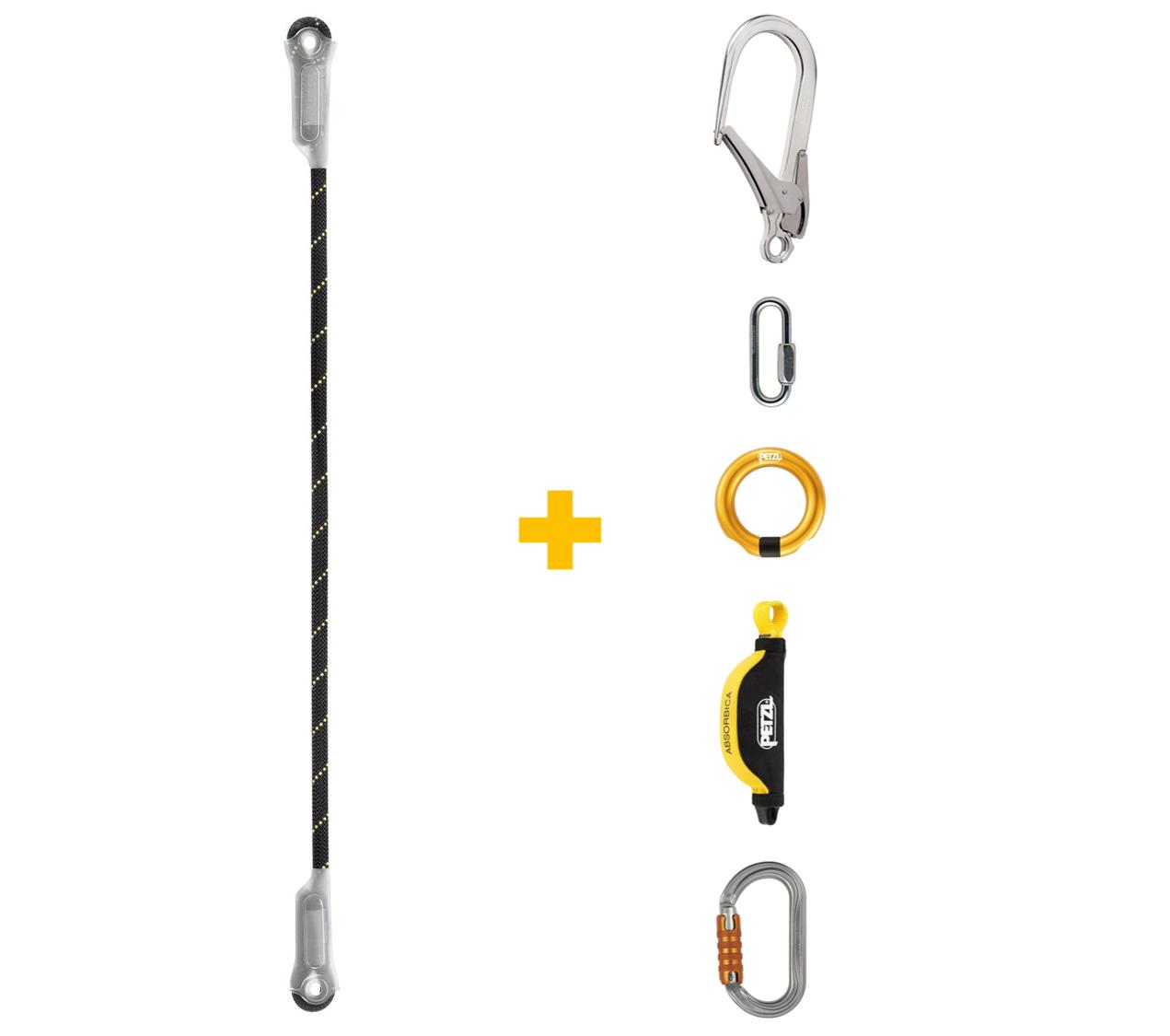 Kit - Talabarte JANE + Mosquetão MGO 110 cm + ABSORBICA + Conectores OK TL, GO e RING OPEN Petzl
