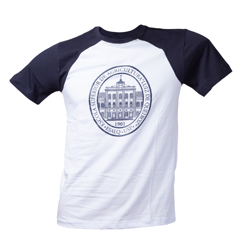 Camiseta branca e azul marinho Prédio Central