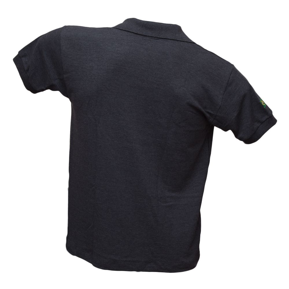 Camiseta Polo Masculina Mescla Cinza