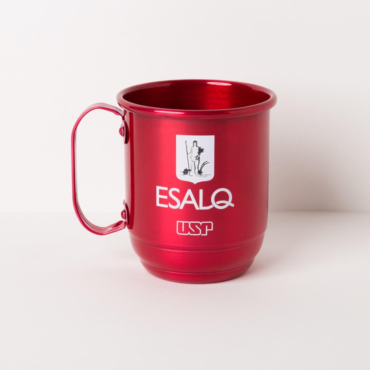 Caneca alumínio vermelha ESALQ USP