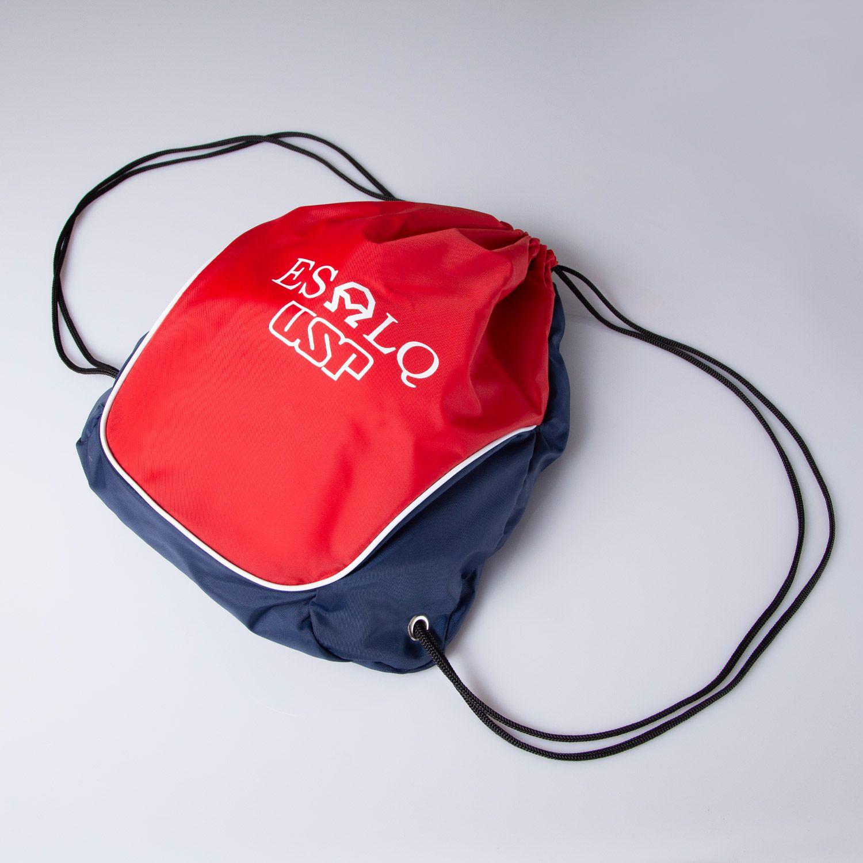 Mochila saco vermelha e azul ESALQ USP