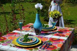 Caminho de Mesa Bege Claro Estampado Floral Colorido Desirée