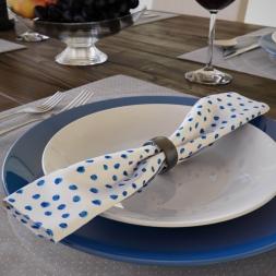 Guardanapos Branco com Poá Azul Estilo Kit com 10