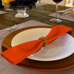 Kit com 10 Guardanapos Laranja de Algodão Liso Orange