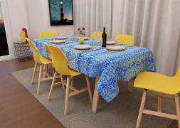 Toalha de Mesa 4 Lugares Quadrada Azul Mares
