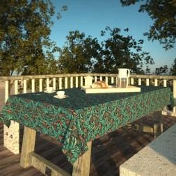 Toalha de Mesa Azul 4 Lugares Retangular Folhagens