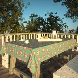 Toalha de Mesa Azul Retangular 10 Lugares Floral do Campo