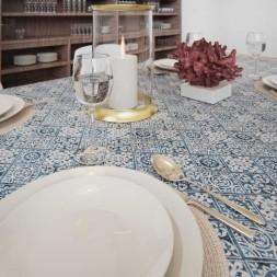 Toalha de Mesa Azul Retangular 4 Lugares Losangos