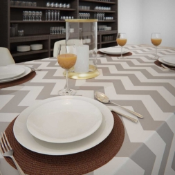 Toalha de Mesa Branca com Cinza Retangular 8 Lugares Zig Zag