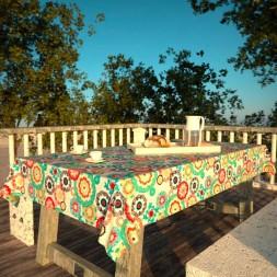 Toalha de Mesa Branca Floral Impermeável Retangular 8 Lugares