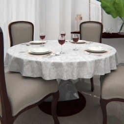 Toalha de Mesa Branca 8 Lugares Redonda Jacquard com Arabesco