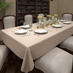 Toalha de Mesa de Linho Bege Clara Retangular 6 Lugares