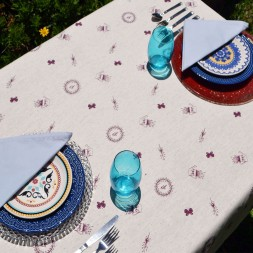 Toalha de Mesa de Linho Retangular 4 Lugares Amor de Jardim
