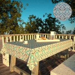 Toalha de Mesa Impermeável Quadrada 4 Lugares Mil Arabescos