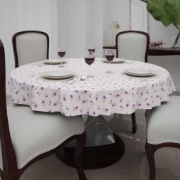 Toalha de Mesa Lilás Redonda6 Lugarescom Florzinhas