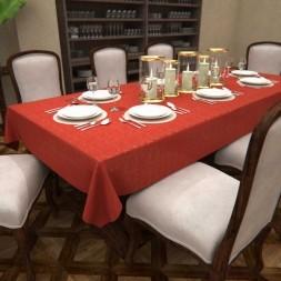 Toalha de Mesa Natalina Vermelha Retangular 8 Lugares Poeira Dourada