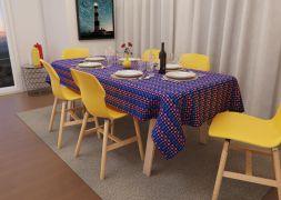 Toalha de Mesa Quadrada 4 Lugares Azul Mimos de Flores