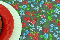 Toalha de Mesa Quadrada 4 Lugares Marrom Floral House