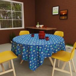 Toalha de Mesa Redonda 4 Lugares Azul Estampada Flor do Céu