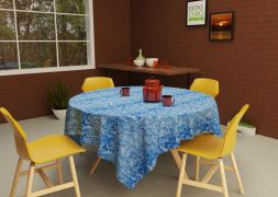 Toalha de Mesa Redonda 4 Lugares Azul Textura Mares