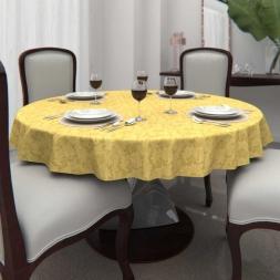 Toalha de Mesa Redonda 6 Lugares Dourada Jacquard
