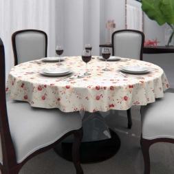 Toalha de Mesa Redonda 8 Lugares Branca Floral