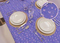 Toalha de Mesa Retangular 10 Lugares Lilás Rosas