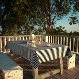 Toalha de Mesa Retangular 4 Lugares Impermeável Listrada Azul com Branco