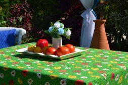 Toalha de Mesa Retangular 4 Lugares Verde Floral Papoulas