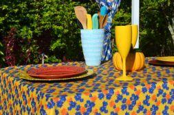 Toalha de Mesa Retangular 6 Lugares Amarela Floral Divina