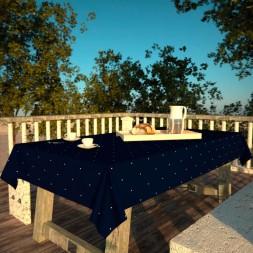 Toalha de Mesa Retangular 6 Lugares Azul Escuro Poá