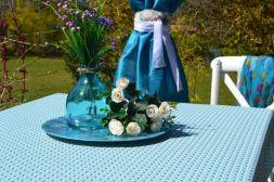Toalha de Mesa Retangular 8 Lugares Azul Doces Flores