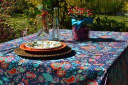 Toalha de Mesa Retangular 8 Lugares Azul Indian