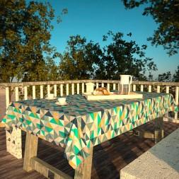Toalha de Mesa Retangular 8 Lugares Impermeável Branca com Triângulos