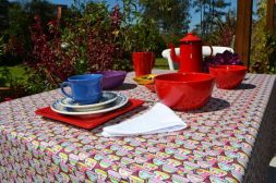 Toalha de Mesa Retangular 8 Lugares Xícaras de Chá