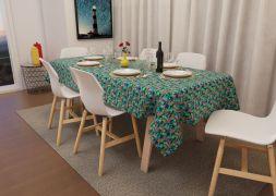 Toalha de Mesa Verde Quadrada 4 Lugares Savana Floral