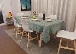 Toalha de Mesa Verde Retangular 10 Lugares Floral Luxo