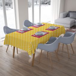 Toalha de Mesa Xadrez Amarela Retangular 10 Lugares
