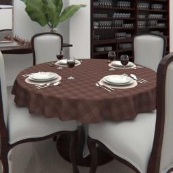 Toalha de Mesa Xadrez Marrom 6 Lugares Redonda Chocolate