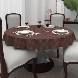 Toalha de Mesa Xadrez Marrom Redonda 8 Lugares Chocolate